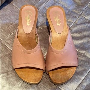 Vintage 80's Baby Pink CANDIE'S Clogs Size 7